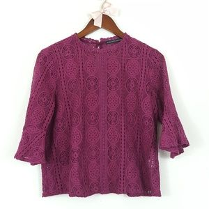 Harlowe & Graham Lace Shell Bell Sleeve Top S